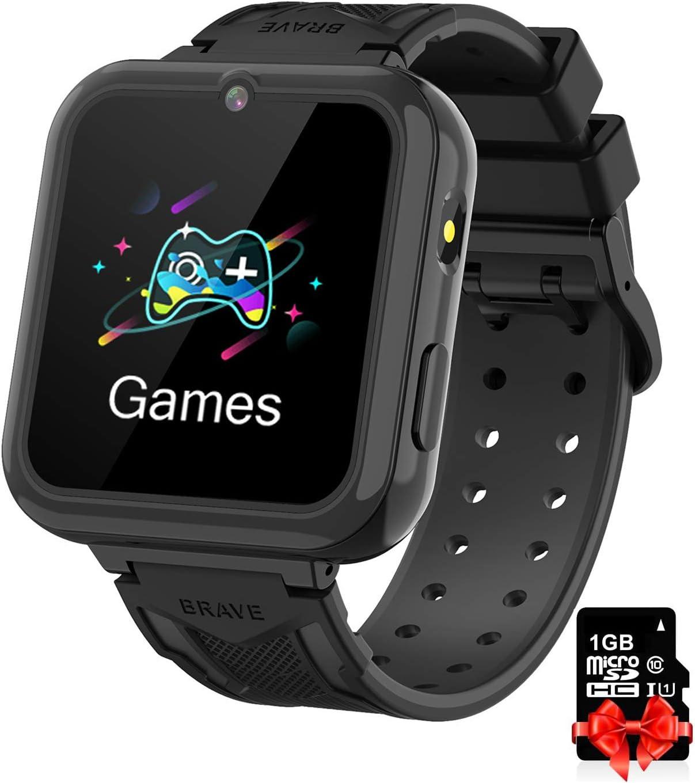 Reloj Inteligente para Niños black, Smart Watch con Reproductor de MúSica SOS Linterna Cámara 7 Juegos Y Reproductor de MúSica, Reloj de Pulsera Digital para Niños De 3-12 Años [Tarjeta SD Incluida]