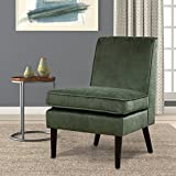 LSSBOUGHT Luxurious Fabric Armless Contemporary Accent Chair with Solid Wood Frame Legs (Green) For Sale