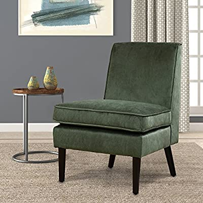 """LSSBOUGHT Luxurious Fabric Armless Contemporary Accent Chair with Solid Wood Frame Legs (Green) - This durable accent chair is crafted with solid wood legs and a luxurious fabric, which means it is built to withstand extensive use through time. it will be at home in any room, matching with both modern and traditional décor. The unique design is a nice touch of modern contemporary appeal. The seat and back are padded for great comfortable feeling, especially the thickened cushion. Overall dimension: 24.8"""" W x 28.3"""" D x 34.6"""" H; Seat width 24.4""""; Seat depth 20""""; Seat height 19.7""""; Apron height 10.8"""" - living-room-furniture, living-room, accent-chairs - 617HCcBVF5L. SS400  -"""