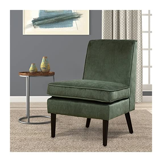 "LSSBOUGHT Luxurious Fabric Armless Contemporary Accent Chair with Solid Wood Frame Legs (Green) - This durable accent chair is crafted with solid wood legs and a luxurious fabric, which means it is built to withstand extensive use through time. it will be at home in any room, matching with both modern and traditional décor. The unique design is a nice touch of modern contemporary appeal. The seat and back are padded for great comfortable feeling, especially the thickened cushion. Overall dimension: 24.8"" W x 28.3"" D x 34.6"" H; Seat width 24.4""; Seat depth 20""; Seat height 19.7""; Apron height 10.8"" - living-room-furniture, living-room, accent-chairs - 617HCcBVF5L. SS570  -"