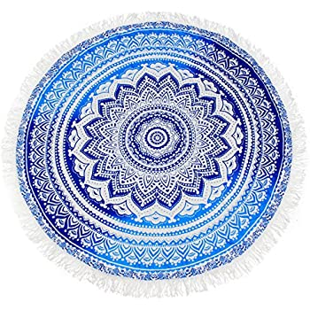 KING DO WAY Round Indian Mandala Beach Towel Soft Breathable Roundie Beach Throw Tapestry Used as Hippy Cotton Beach Blanket Table Cover Wall Hanging ...