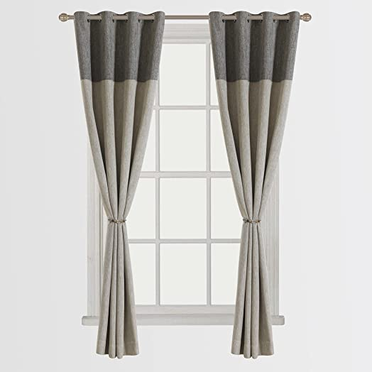 Cherry Home Set of 2 Classic Bamboo Fiber Faux Room Darkening Grommet Top Curtain Draperies