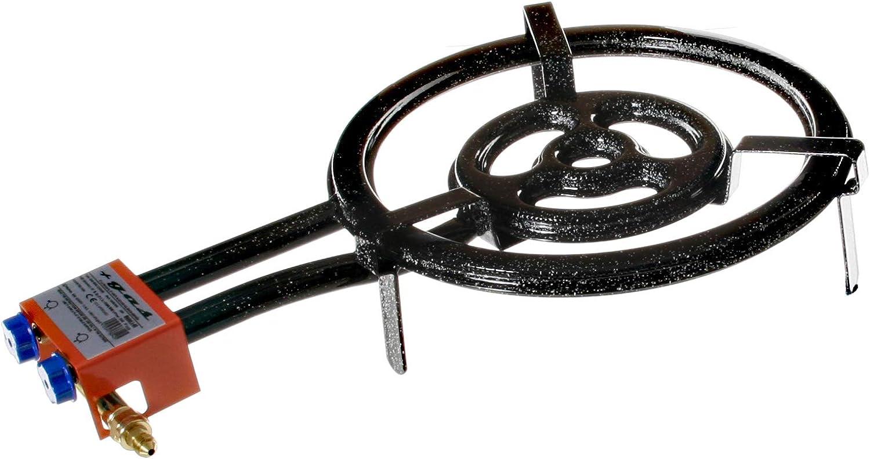 Garcima 76040 Hornillo paellero gas plano l-40 2 fuegos, Negro, 41x 65 x 12 cm: Amazon.es: Jardín