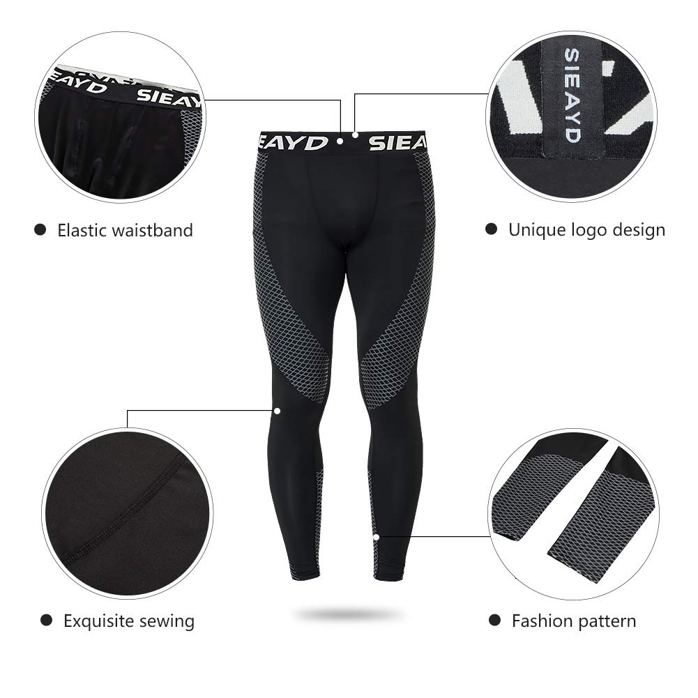 Sieayd Mens Compression Pants 2 Pack Base Layer Cool Dry Running Tights Workout Leggings
