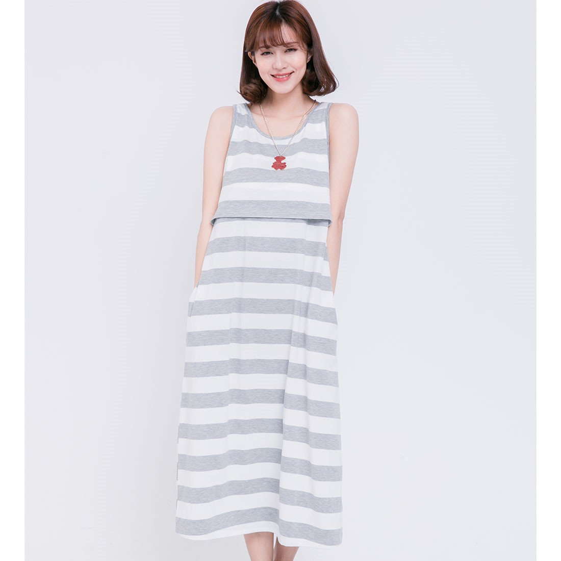 Unimommy Striped Loose Maternity Postpartum Nursing Maxi Dress in Home and Out