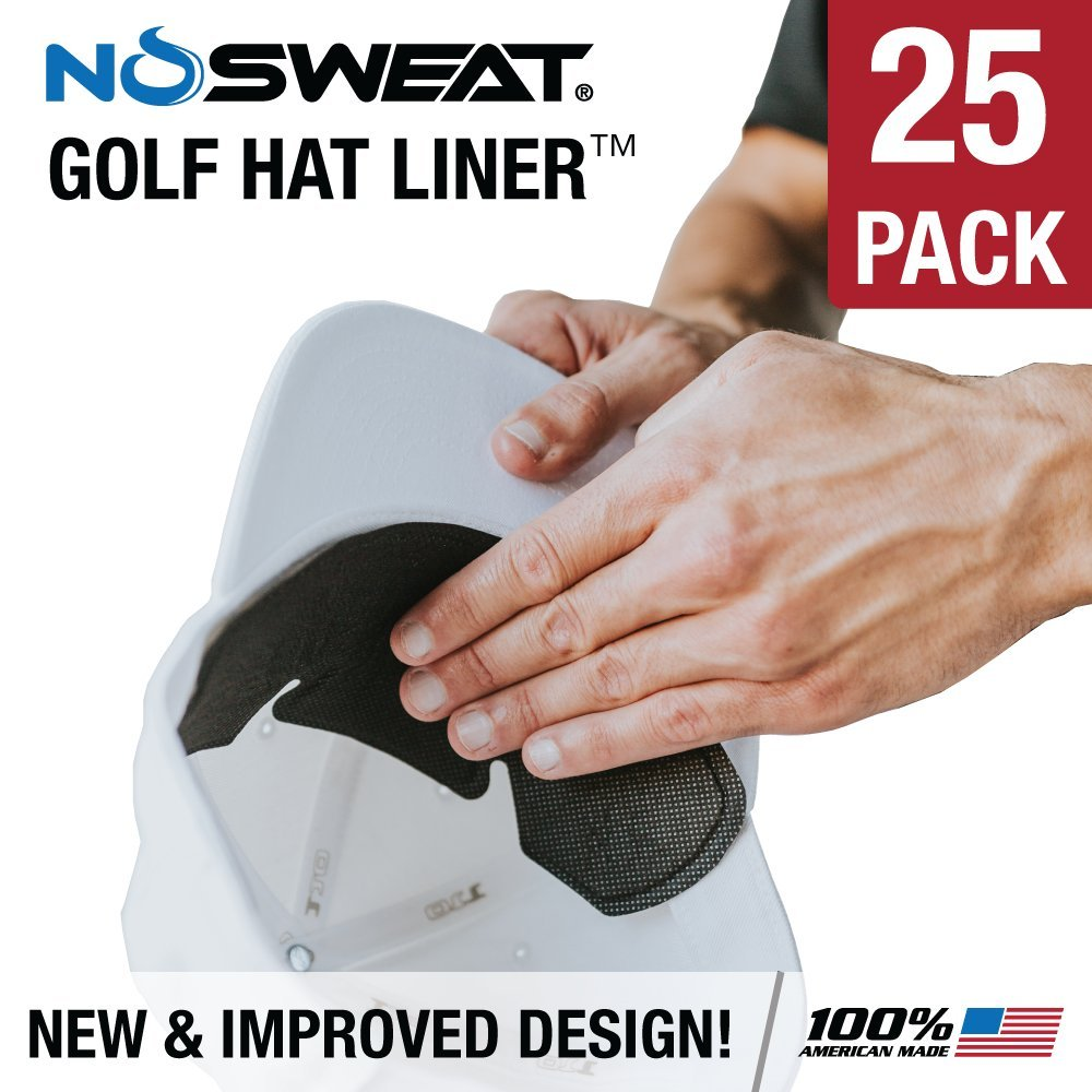 No Sweat Golf Hat Liner & Cap Protection - Moisture Wicking Sweatband Absorbs Dripping Sweat | Helps Prevent Acne, Prevents Hat Stain Rings (25-Pack) by No Sweat