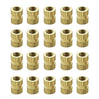 uxcell Knurled Insert Nuts 50 Pcs M2 x 3mm L x 3.5mm OD Female Thread Brass Embedment Assortment Kit