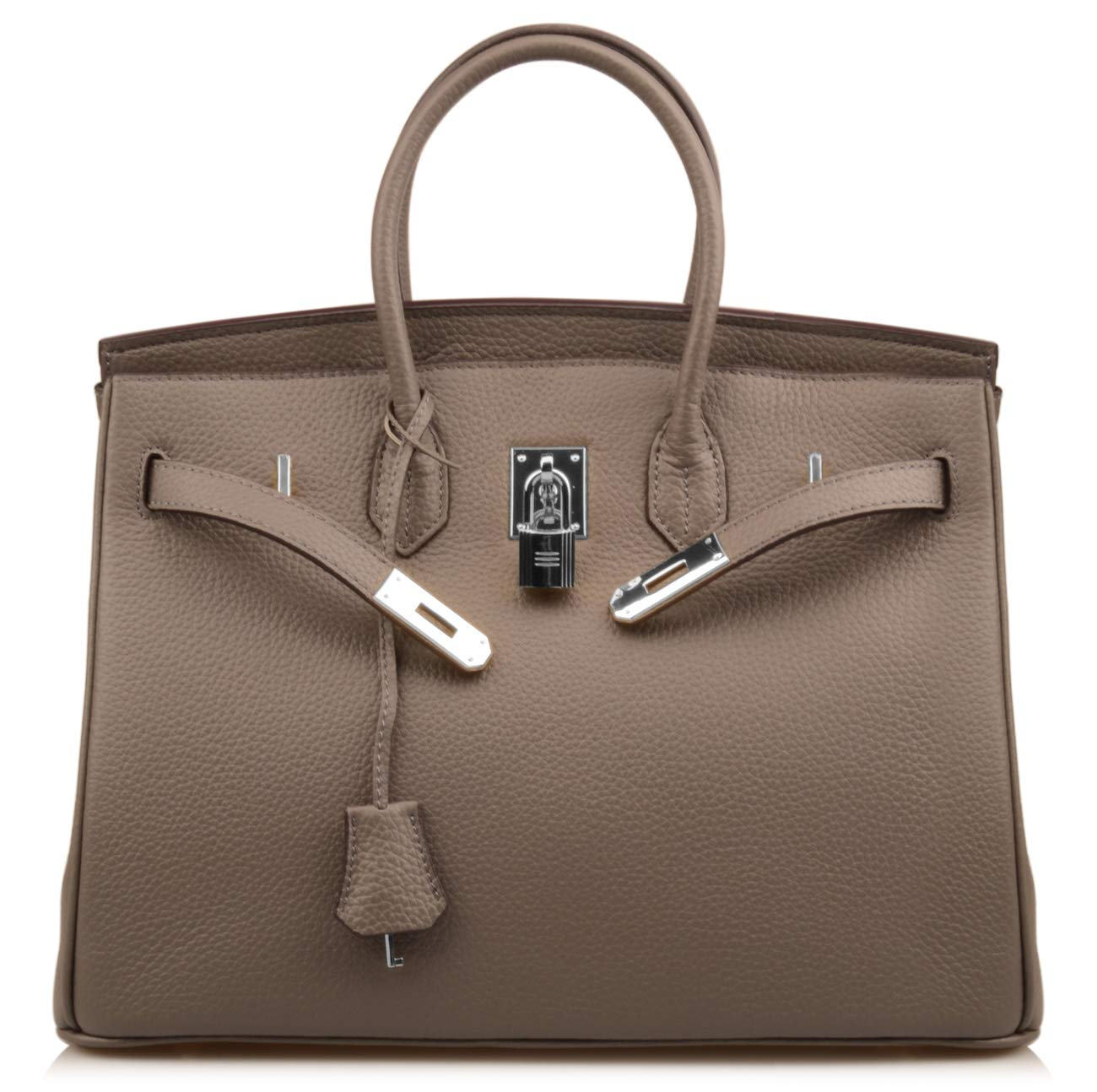 Qidell Women's Padlock Handbags With Silver Hardware On Clearance (35 cm.Dark grey)