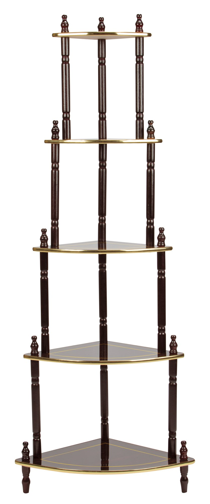 The Paragon Cherry Finish Corner Shelf Unit - Traditional 5 Tier Accent Etagere - Perfect to Fill Unusable Space by The Paragon