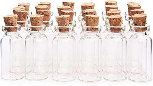 20 x small Glass bottles with cork bead container jar 16 x 35mm glass bottle
