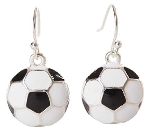 Artisan búho - esmaltado balón de fútbol deporte Dangle Pendientes ...