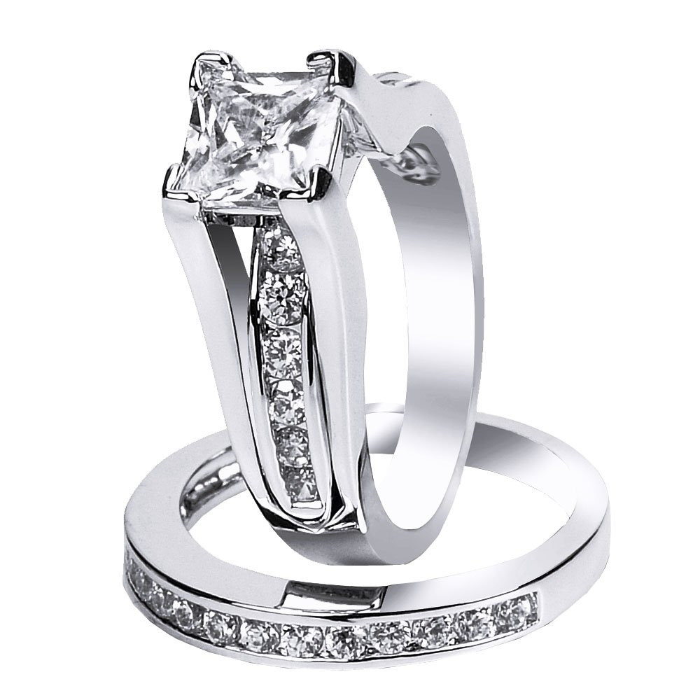 925 Solid Sterling Silver Cubic Zirconia Bridal Princess Cut Wedding Band Engagement Ring Set Gifts for Women