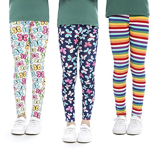 - slaixiu Girls Leggings Stretchy Kids Pants Classic Printing Flower Pattern(BBFOO_70#)