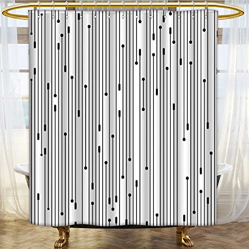 AmaPark Shower Curtain with Hooks Art Line Display Contemporary Links Webs Signal Graphic Form Black White Mildew Free Waterproof 66 x 72 (Beaded 3 Hole Link)