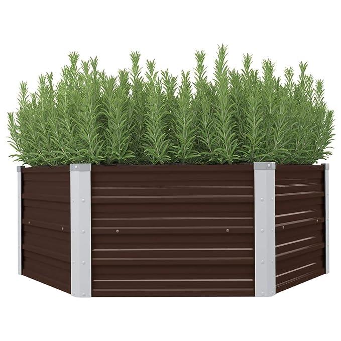 Tidyard Huerto Urbano,Mesa de Cultivo de Acero galvanizado marrón ...