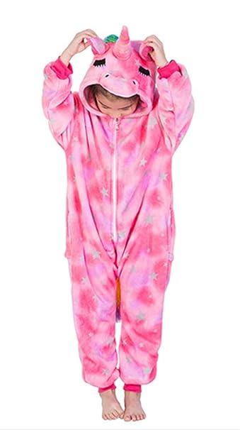 DecoBay Niños Unicornio Pijamas Franela Animales Ropa De Dormir Lindo Batas De Dormir León Tigre Ciervo Zorro Unisexo (Ojo Cerrado Unicornio, ...