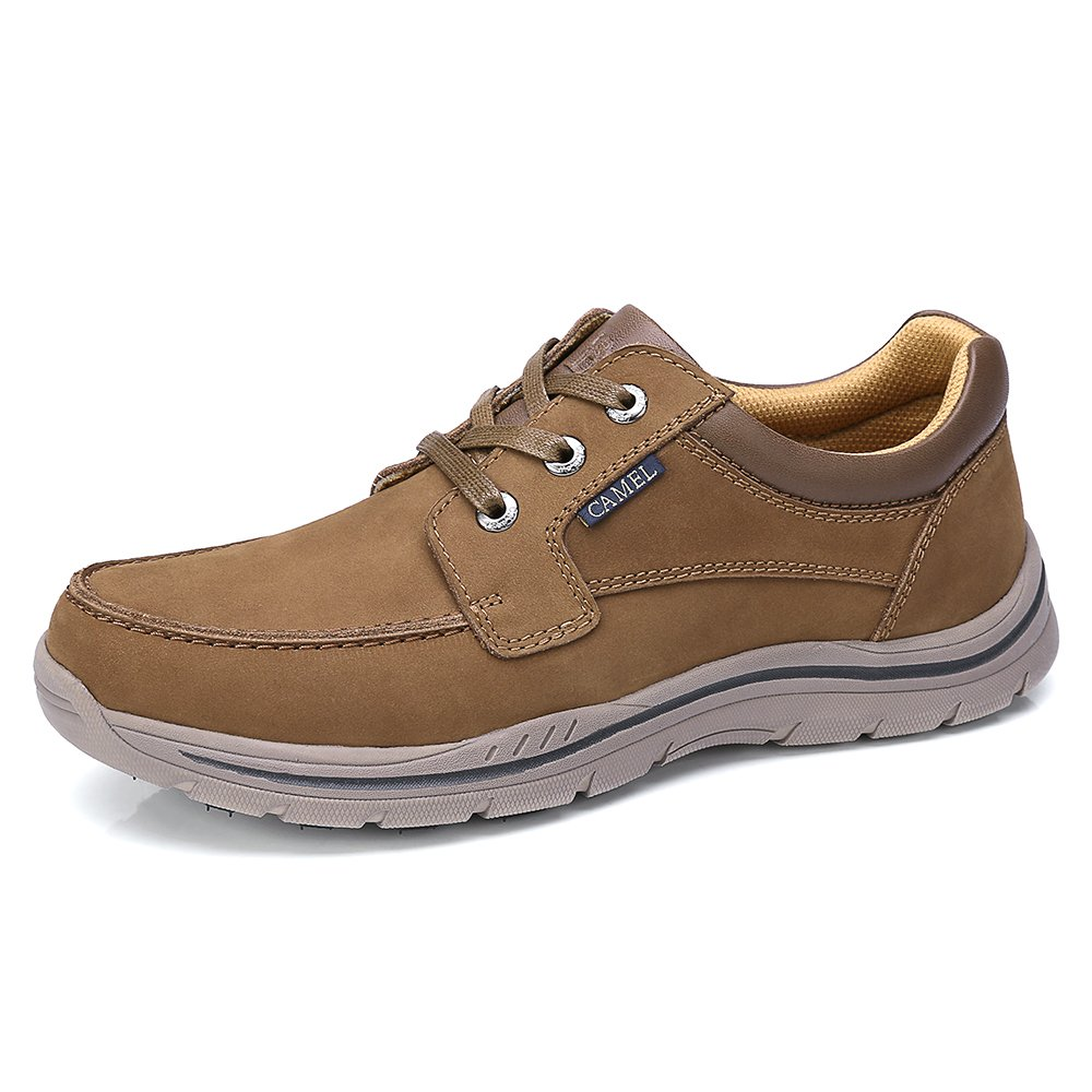 Camel Mens Casual Leather Fashion Sneakers Business Wide Lightweight Lace-up Oxford Shoes Walking Athletic