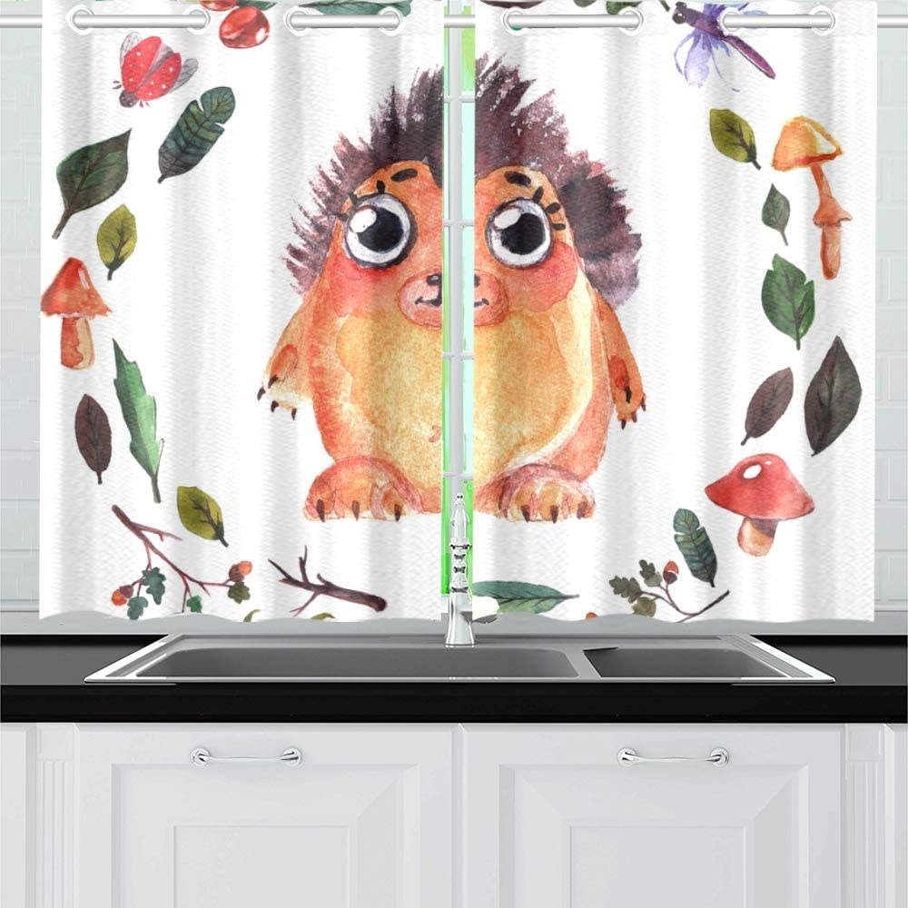 Jincaii Cute Little Hedgehog Animal Kitchen Curtains Window Curtain Tiers For Cafe Bath Laundry Living Room Bedroom 26x39inch 2pieces Amazon Co Uk Kitchen Home