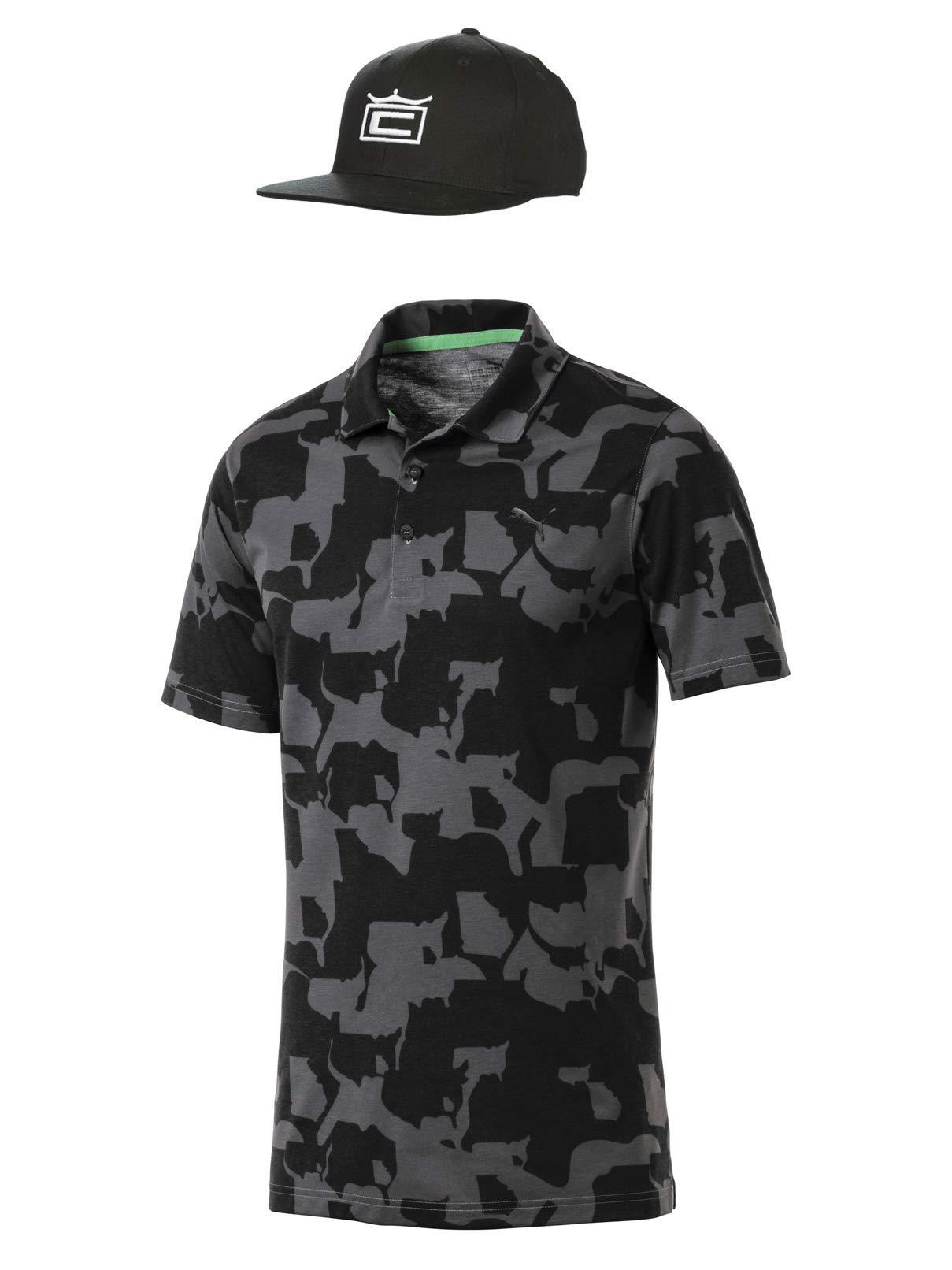 Rickie Fowler Masters Puma Golf Polo & Hat Bundle (2019)   Puma Union Camo Polo & Cobra Tour Crown 110 Snapback (Iron Gate/Black, Medium)