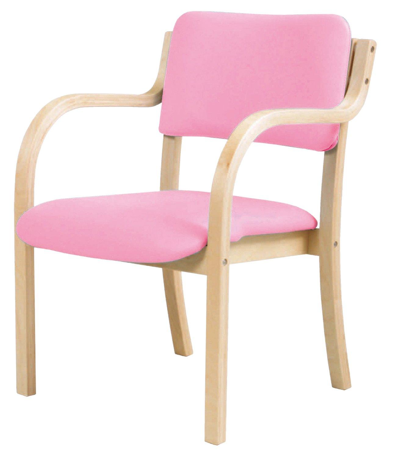 木製ベーシックデザイン 肘付ダイニングチェア 座面高さ415mm (ピンク) B017NF9V7W ピンク ピンク