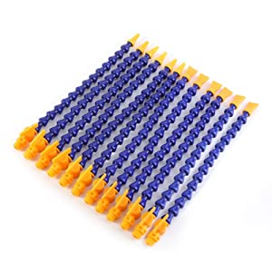Water Oil Coolant Pipe, 12PCs Water Oil Coolant Pipe Lathe CNC Machine Flexible Coolant Pipe Hose Round Flat Nozzle Cooling Tube