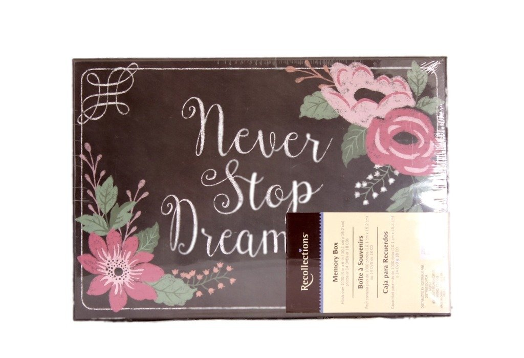 Recollections Never Stop Dreaming Flowers Photo Album Memory Storage Box -4 3/8 x 7 7/8 x 11 3/8 … by Recollections