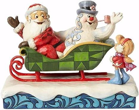 Amazon Com Enesco Santa Frosty And Karen Sleigh Figurine 6 Home Kitchen