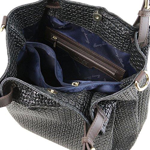 TL Noir Leather shopping Tuscany tressé TL141573 imprimé Sac Noir en KeyLuck cuir U5w4fP