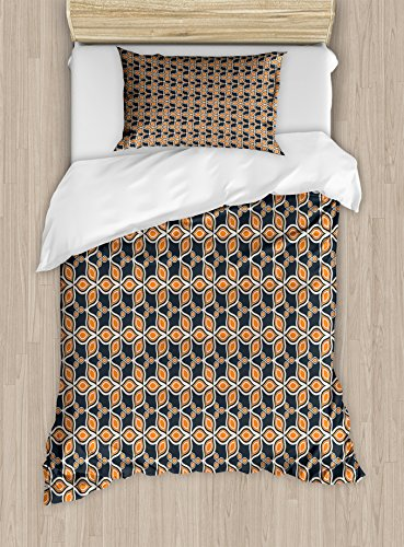 Mosaic Harvest (Ambesonne Leaves Twin Size Duvet Cover Set, Old Fashioned Autumn Leaves Linked Forming A Mosaic Unusual Harvest Classic Motif, Decorative 2 Piece Bedding Set with 1 Pillow Sham, Multicolor)
