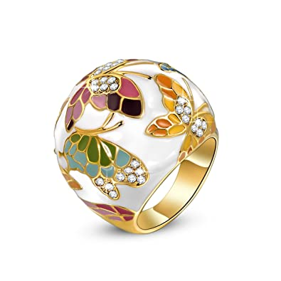 com bohemia gold slp enamel vintage indian ring style jewelry finger s plated fashion ethnic jinkaijia rings women amazon