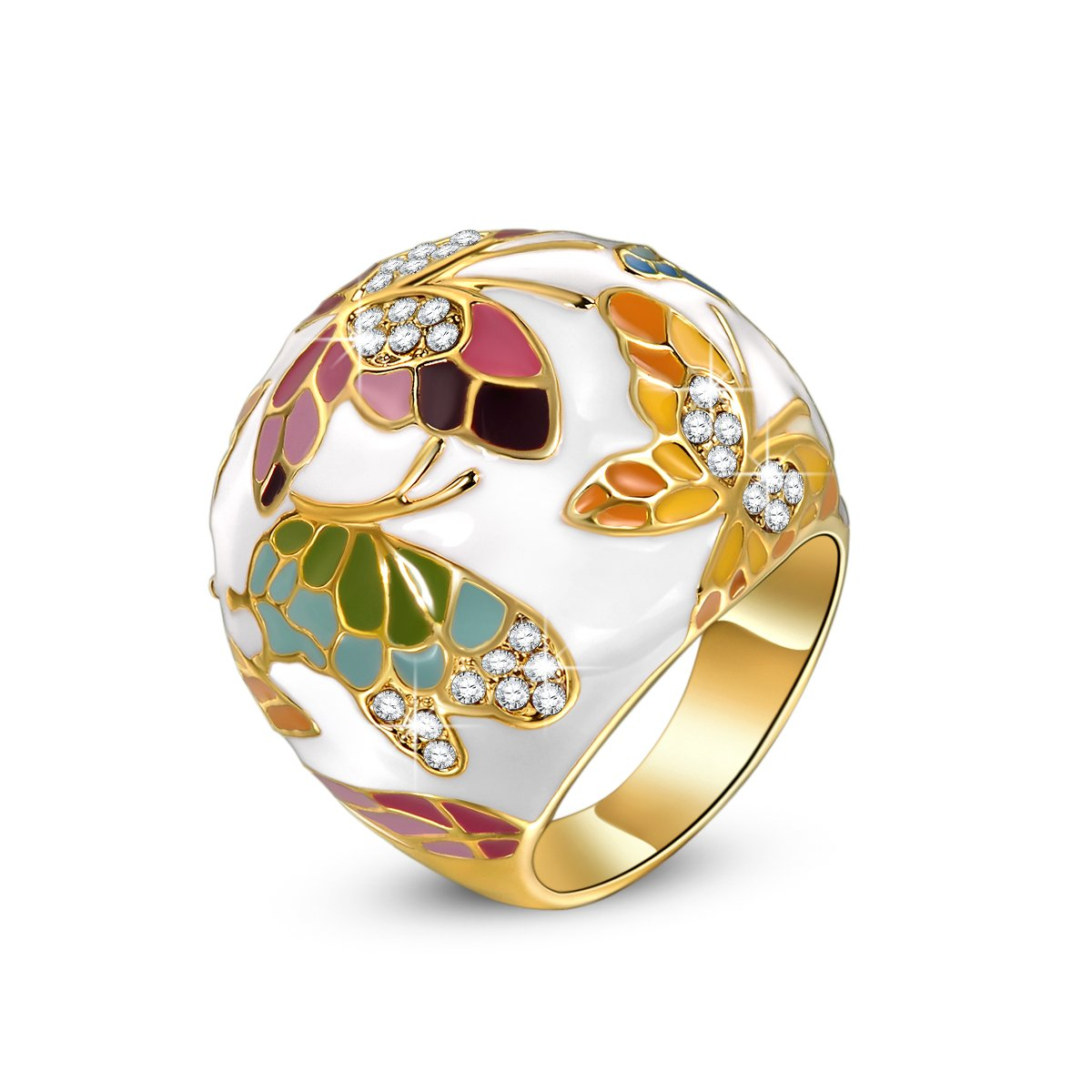 QIANSE ''Spring of Versailles Enamel Rings for Women Size 9 Gold Rings for Teen Girls Butterfly Ring Jewelry for Women Birthday Gifts for Mom Present for Mother Daughter in Law