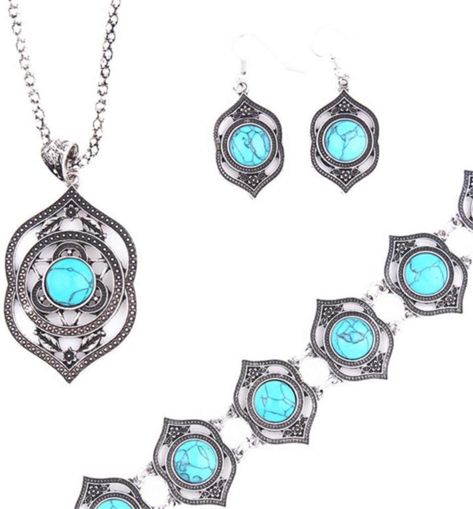Weisin Boh/ème Vintage Turquoise Boucles doreilles Bracelet Collier Ensemble De Mode Ethnique Bijoux Ensemble pour Femmes