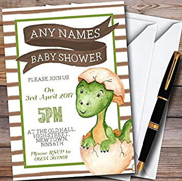 A6 Baby Shower Invitation Personalised Leaves Pack of 10 includes Envelopes