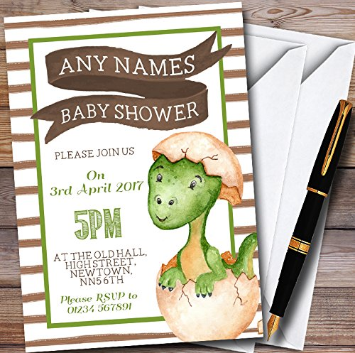 Boys Baby Dinosaur Personalized Baby Shower Invitations by The Card Zoo