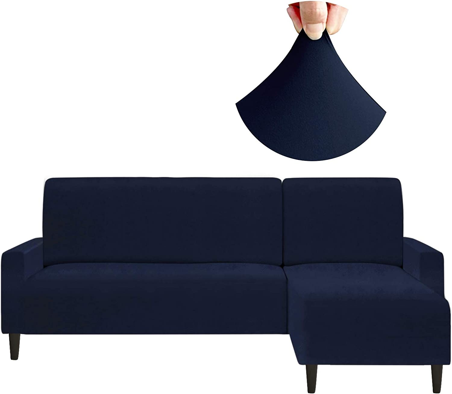 Arfntevss Stretch Sectional Couch Covers Water Resistant 2 Pieces L Shaped Sofa Cover Set Extra Soft Thick L-shape Slipcovers for Living Room Dogs Proof Non Slip Furniture Protector (Navy Blue, Large)