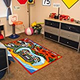 Gertmenian Disney Cars3 HD Kids Play Rug, Red, 40'' x 54'', Medium