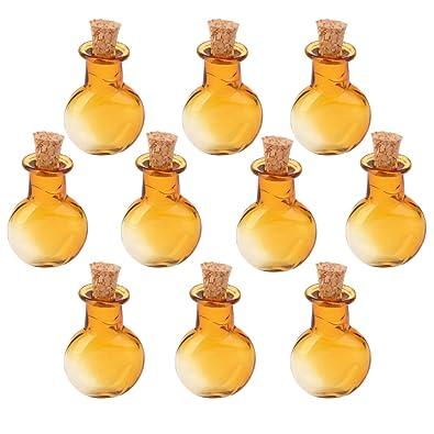 milageto 10 Unids Pequeño Mini Forma Redonda Plana Corcho Botellas De Vidrio Viales Frascos DIY Colgante: Amazon.es: Joyería