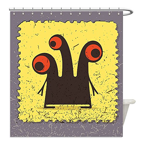 Trippy Turtle Costume (Liguo88 Custom Waterproof Bathroom Shower Curtain Polyester Trippy Creature with Heads and Large Eyes on Yellow Stamp Figure Illustration Grey Seal Brown Decorative bathroom)