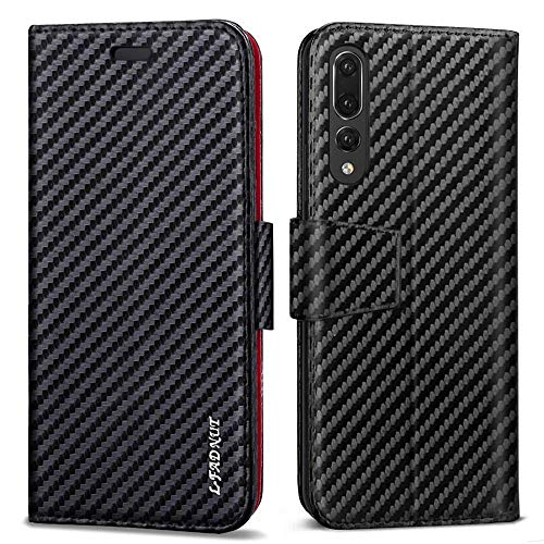 LCHULLE Wallet Leather Case for iPhone 5/5S/SE, Premium Flip Folio Book Case Shockproof Card Holder ID Slot Full Protection PU Kickstand Cover Money Pouch Cases Covers-Carbon Fiber Black