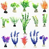 Fycooler 15pcs Artificial Aquatic Plants Plastic Aquarium Plants Fish Tank Decorations Ornament Vivid Simulation Plant Creature Aquarium Decorations Home Décor Plastic Assorted Color (green)