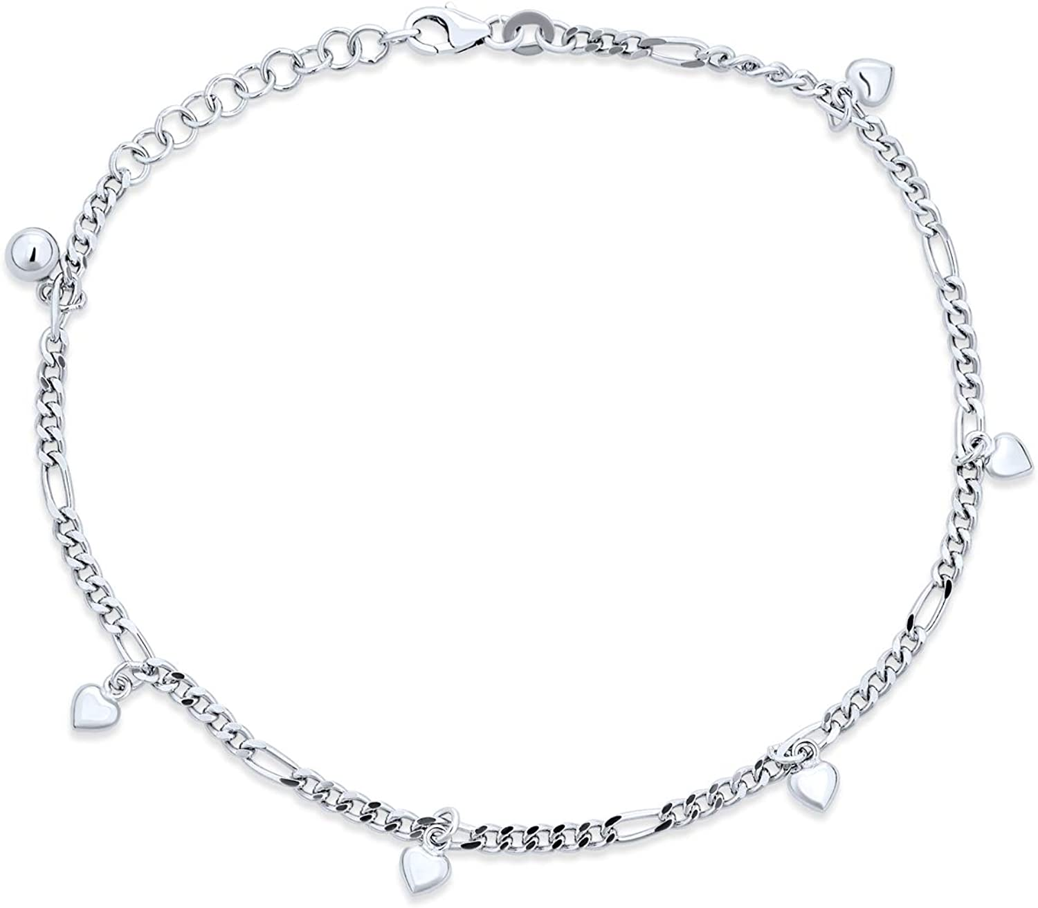 Silver Anklet including 4 Star Charms with an Adjustable Length