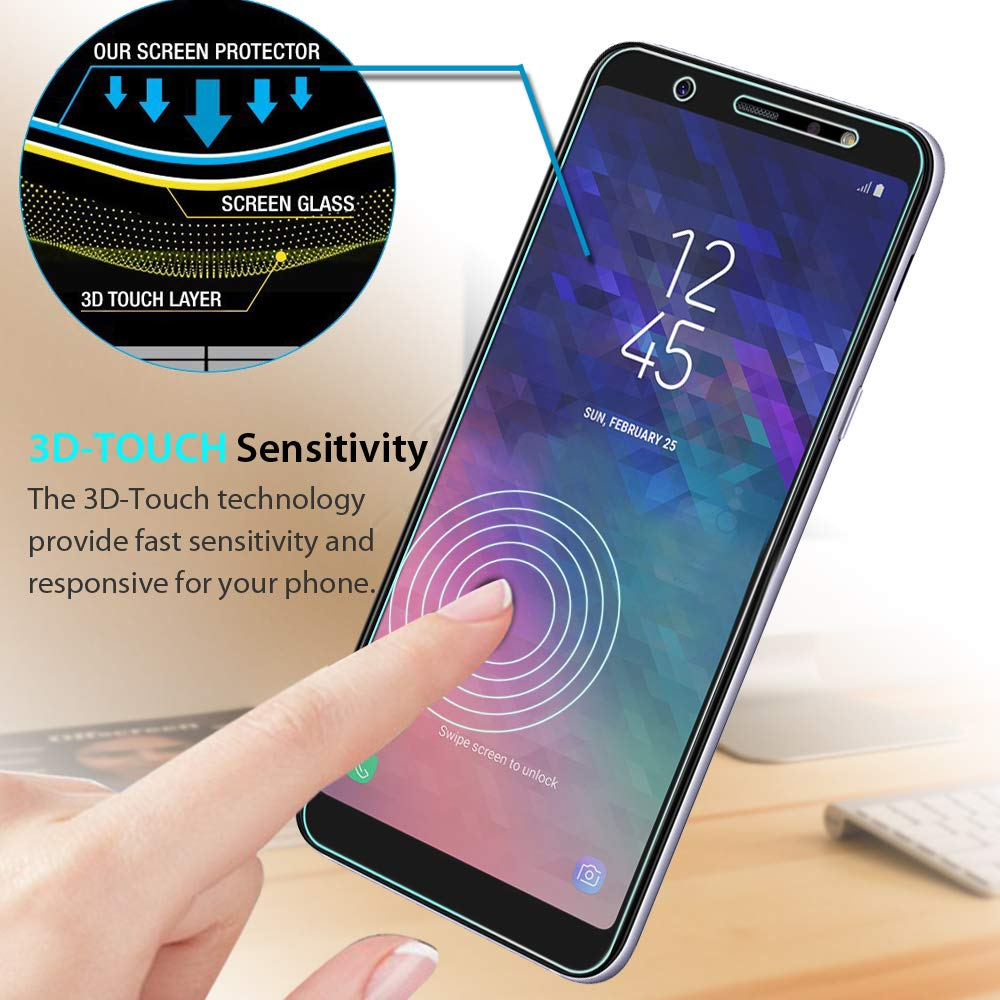 a75d48a1fd6 Amazon.com   2-Pack  Samsung Galaxy A6 Plus Tempered Glass Screen  Protector