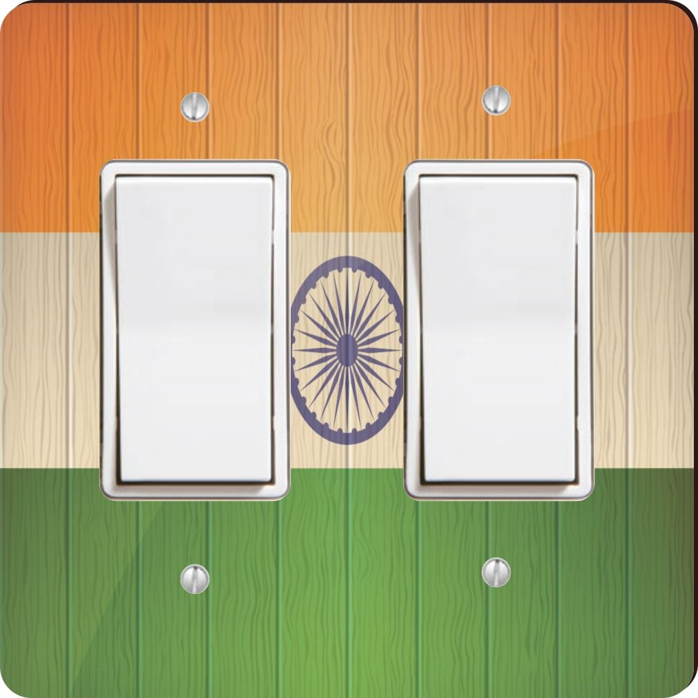 Rikki Knight 8594 Double Rocker India Flag On Distressed Wood Design Light Switch Plate