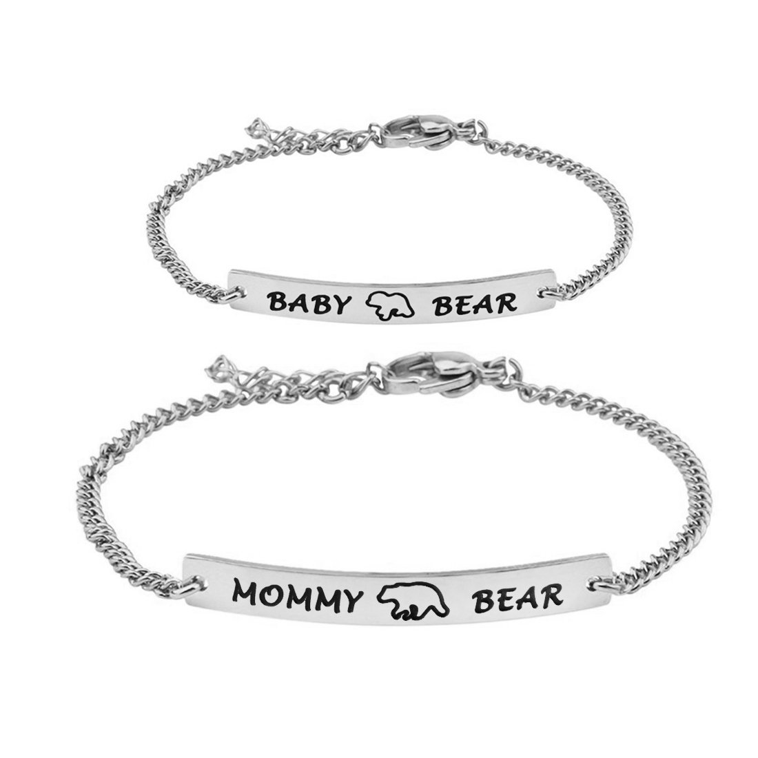 WUSUANED Mommy Bear and Baby Bear Bracelet Set Mommy and Me Jewely Baptism Gift for New Born Baby (mommy baby bear set S)