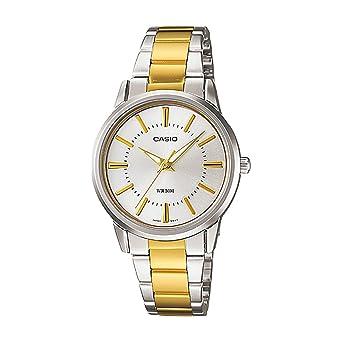 Reloj de cuarzo con esfera de plata de acero inoxidable dorado, para mujer Core LTP1303SG-7AV, de Casio