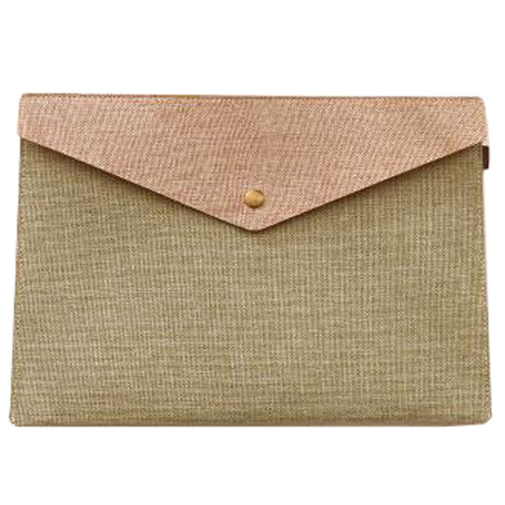Cute File Bag Large Stationery Bag Pouch File Envelope for Office/School Supplies, Army Green