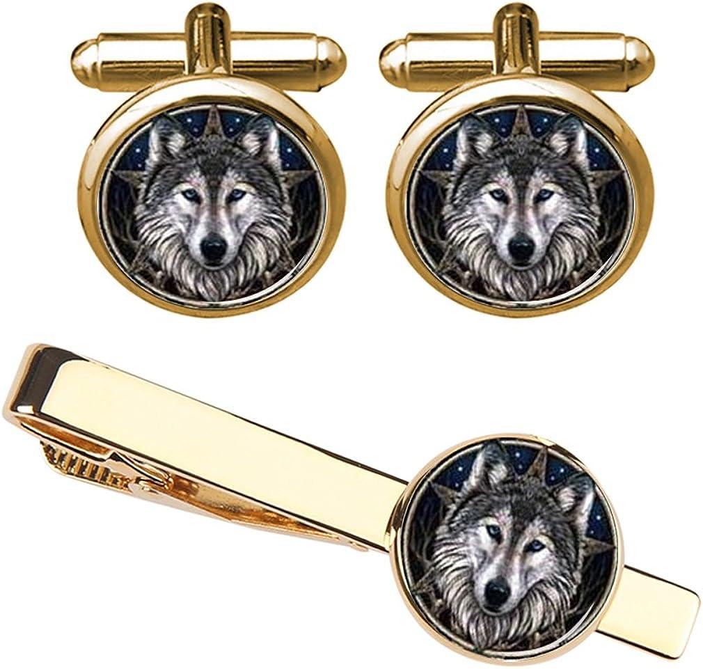 ZUNON Wolf Head Cufflinks & Tie Clips Custom Wild Animals Mens Shirt Cufflink Jewelry