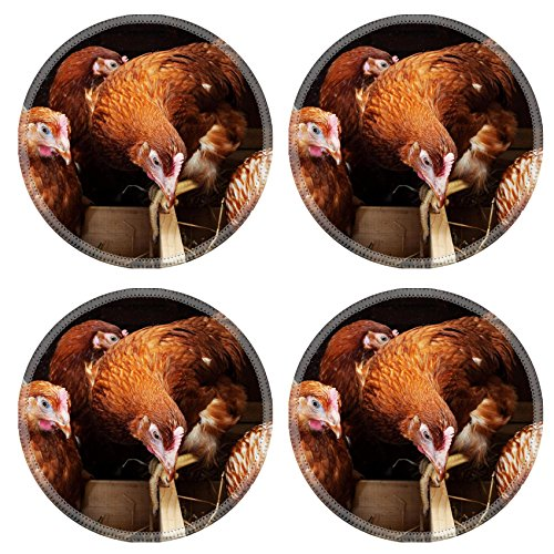 - Liili Round Coasters Non-Slip Natural Rubber Desk Pads Hens in the chicken coop IMAGE ID 20452335