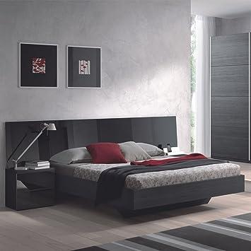 HOGAR24 Dormitorio: Cabezal DE Matrimonio + 2 MESITAS DE 2 CAJONES, Color Negro Malla