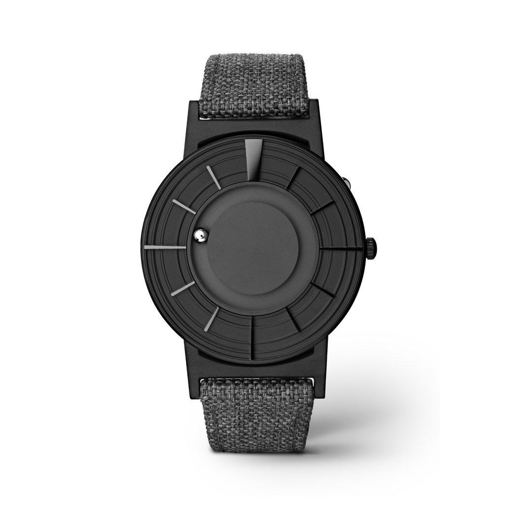 EONE Bradley Edge Black Ceramic Grey Canvas Watch